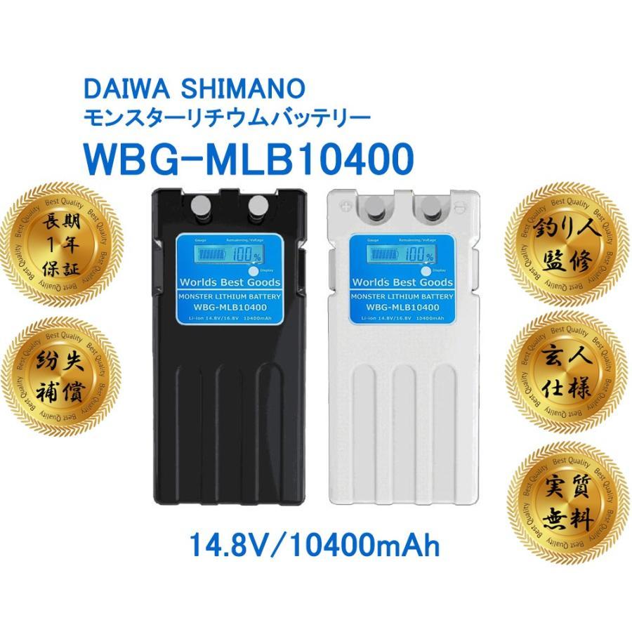 スーパーリチウム互換 玄人仕様 特典利用で実質バッテリーが無料 モンスターリチウムバッテリー レビューを書いて長期1年保証 電動リール wbg-mlb-10400|world-best-goods