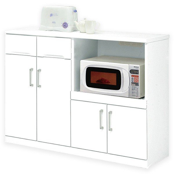 キッチンカウンター 幅120cm 二口コンセント/可動棚/キャスター付き 日本製 ホワイト(白) 〔完成品 〔完成品 開梱設置〕〔代引不可〕