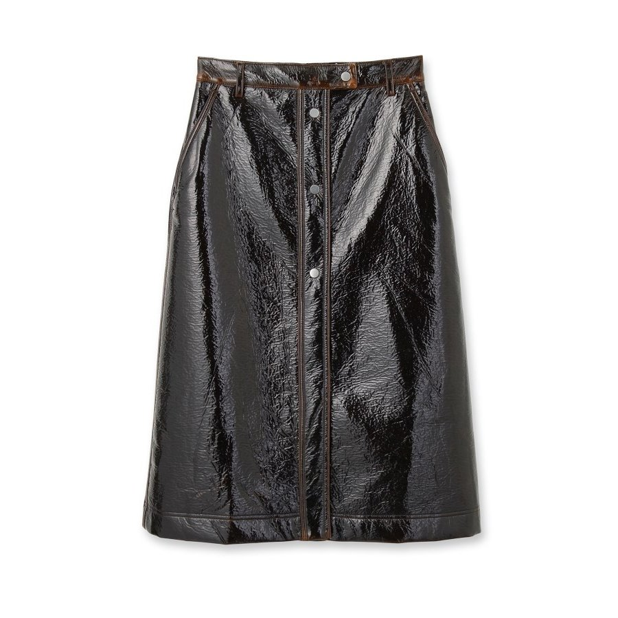 安いそれに目立つ DRESSTERIOR(Ladies)(ドレステリア(レディース))COVERT フェイクレザーミモレボタンスカート, サンクゼール久世福商店 465f2b9f