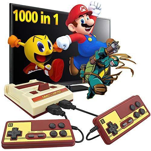Fadist レトロゲーム機 1000ゲーム内蔵 クラシックビデオゲーム機 2つのクラシックコントローラー付き AV出力プラグamp;プレイゲーム機 子供