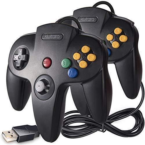 kiwitat? N64 クラシック USB コントローラー 2パック レトロ N64 ビット USB 有線 PC コントローラー ジョイスティック