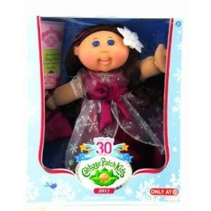 2013 限定品 CABBAGE PATCH DOLL KIDS 30 YEAR ANNIVERSARY-MAROON SNOWFLAKE DRESS 褐色 HAIR ドール
