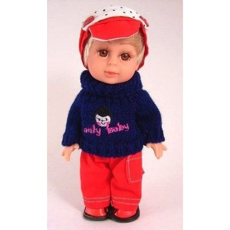 8 inch mini boy doll with warm woollen jumper 赤 trousers and hat ドール 人形 フィギュア