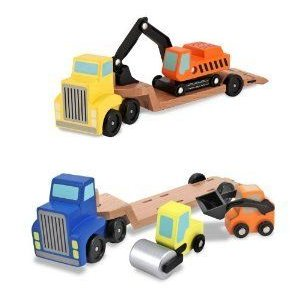 3 Item Bundle: Melissa and Doug 4550 Low Loader and 4577 トレーラー Excavator Wooden トラックs + A