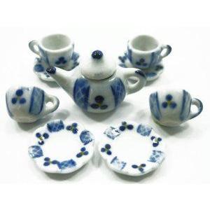 4/9 PAINT Coffee Tea Set Doll House Miniature Kitchen Supply Ceramic Supply Deco #S - 3891 ドール