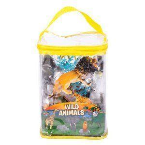 Adventure Planet (アドベンチャープラネット) Wild Animal Set with Carry Bag, 23-Piece