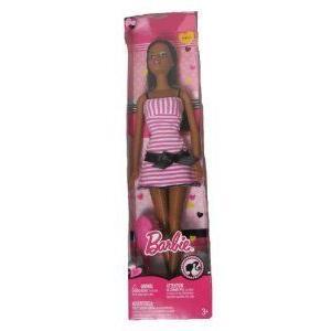 Barbie(バービー) Nikki Doll Girly in ピンク/白い Striped Dress ドール 人形 フィギュア