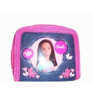 Barbie(バービー) Two Fold Denim ピンク Wallet with Coin Zipper and Butterflies ドール 人形 フィギュ