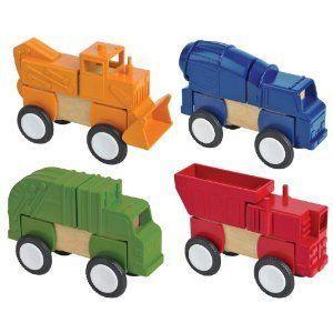 Block Mates Construction Vehicles - Set of 4 ミニカー ミニチュア 模型 プレイセット自動車 ダイキャ