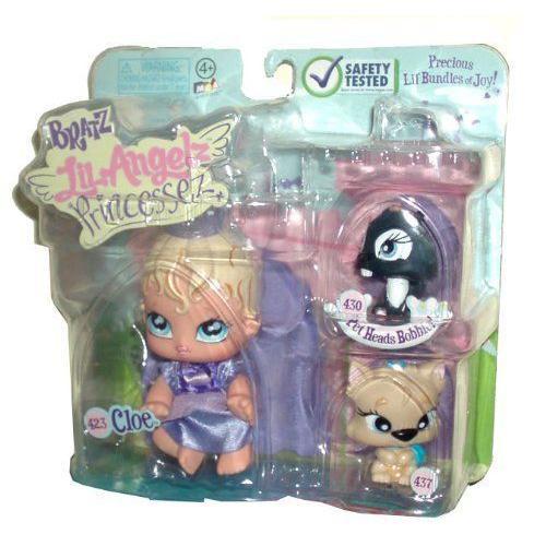Bratz ブラッツ Lil Angelz Princessez and Pet Mini Doll Figure Set - Cloe (# 423), 黒 Squirrel (