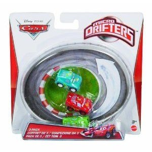 Cars Micro Drifters Chick Hicks, Spare O Mint and Lightning McQueen Vehicle, 3-Pack ミニカー ミニ