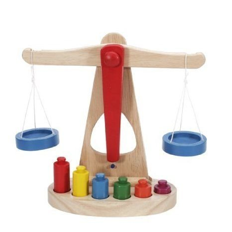 Children Toy Balance Scale w/ Wooden Weights ブロック おもちゃ