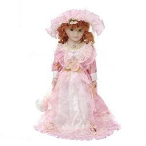 Damara Girl's Porcelain Doll Princess Collection Pretty Light ピンク Lace Dress 16 Display Stand ド