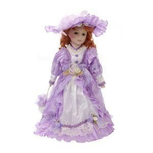 Damara Girl's Porcelain Doll Princess Collection Pretty 紫の Lace Dress 16 Display Stand ドール