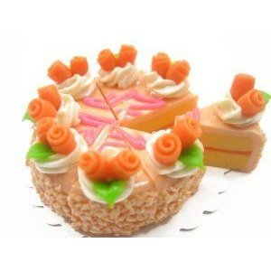 Dolls House Miniature Food 1 オレンジ Cake Rose 8 Cuts Slice 3.5 cm Supply Deco Charm - 8661 ドール