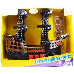Fisher price Imaginext 黒 and 赤 Pirate Ship with 2 フィギュア 人形 ブロック おもちゃ