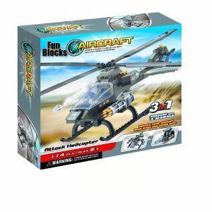 Fun Blocks (Compatible with Lego (レゴ) ) Military Hawk ヘリコプター 3-in-1 Brick Set (114 ピース)