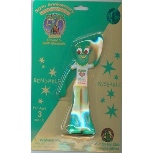 Gumby 50th Anniversary Birthday 6 Bendable Toy - Limited Edition and Numbe赤 - New in Package フ