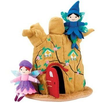 HearthSong Woodland Fairy Tree Trunk Home and Fairy Dolls Set ドール 人形 フィギュア