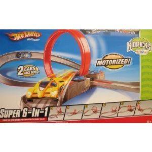 HOT WHEELS (ホットウィール) 'MOTORIZED' SUPER 6 in 1 CAR RACING TRACK Set w 2 CARS Kidspicks TOYS