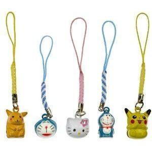 Japanese Cartoon Bell Charm Bundle: Hello Kitty(ハローキティ) , Pikachu, Doraemon (Japanese Import