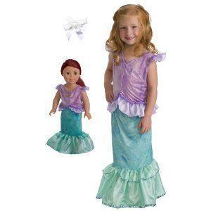 Little Adventure Mermaid Princess Dress 1-3 w/Matching Doll Dress and Hair Bow ドール 人形 フィギ