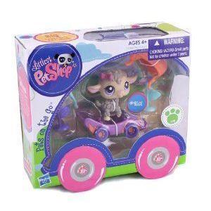 LITTLEST PET SHOP PETS ON THE GO (Lamb and Race Car) ミニカー ミニチュア 模型 プレイセット自動車