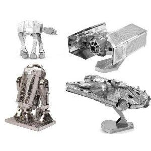 Metal Earth 3D Model Kits - Star Wars (スターウォーズ) Set of 4 - TIE Fighter, R2-D2, AT-AT, Mille
