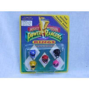 Mighty Morphin Power Ranger (パワーレンジャー) Set of 5 Official Power Rings #40038 (1993) フィギ
