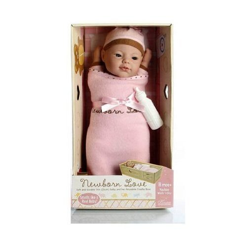 Newborn Love 14 Baby Doll with Accessories in Reusable Cradle Crib Box (Assorted Styles) ドール 人