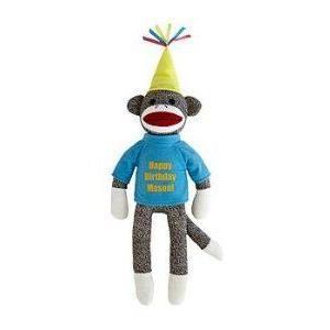 Personalized Birthday Sock Monkey - 青 - Birthday Gifts ブロック おもちゃ