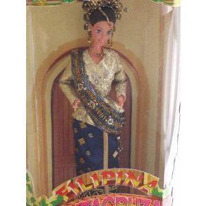 Philippine Barbie(バービー) Santacruzan Reyna Mora in ゴールド and Deep 青 Suit (限定品 (限定品) 199