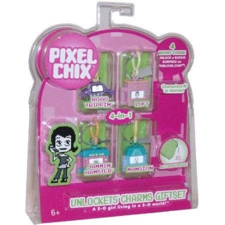 Pixel Chix Exclusive Unlockets Charms Giftset with 4 Charms (Road Trippin, Loft, Jammin' Hamster a