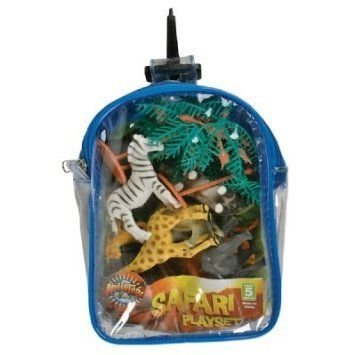 Safari Animals Playset: 12 Piece Toy set in Clip Bag for Play on the GO!