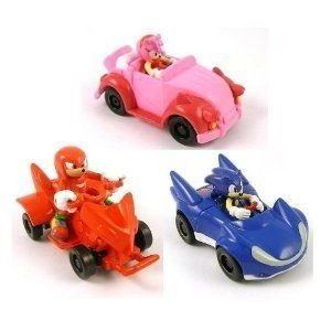 Set of 3 KNUCKLES/ SONIC /AMY Sonic the Hedgehog 2 Pullbacks Racer Cars ミニカー ミニチュア 模型