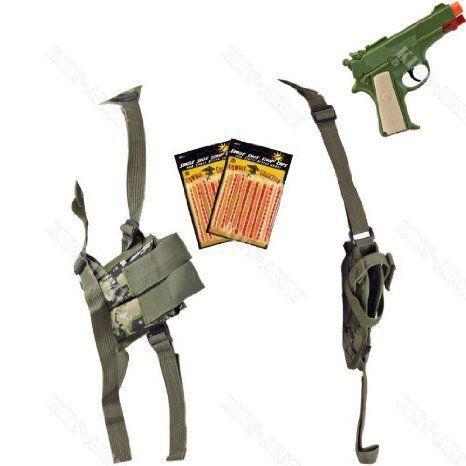 Single-Draw Shoulder Holster & 1911 Cap Gun Combo - Woodland Digital