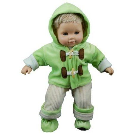 The Queen's Treasures 緑 Fleece Overall Set for 15 American Girl (アメリカンガール) Bitty Baby
