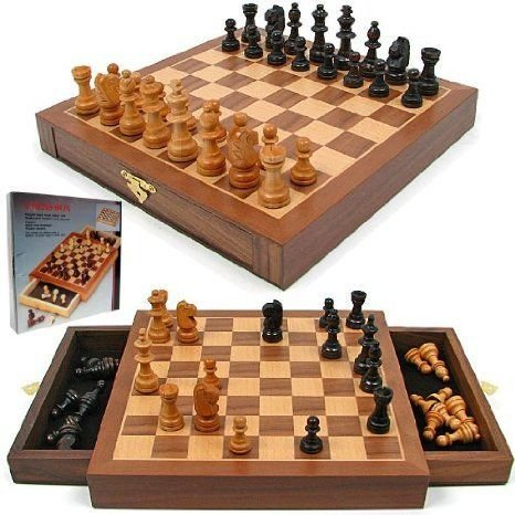 Trademark Global Inlaid Walnut style Magnetized Wood w/Staunton Wood Chessmen フィギュア おもちゃ