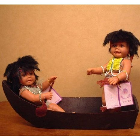 Two Indian Vinyl Poseable Dolls with Wooden Boat ドール 人形 フィギュア