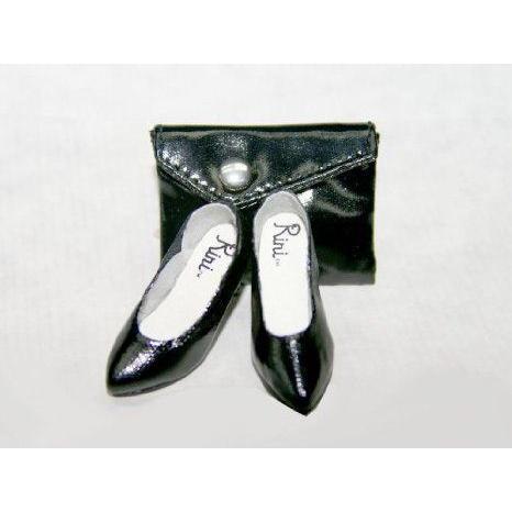 Urban Vita- 黒 Patent Leatherette Pump w/Clutch Purse for 16 inch Horsman Fashion Doll 18706A