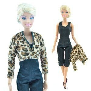 Yiding Fashion Handmade (ハンドメイド 手作り) Leopard Print Jacket Clothes and 黒 Jumpsuit for
