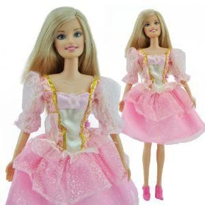 Yiding Fashion ピンク One-piece Dress Skirt Princess Ruffles Clothes for Barbie(バービー) Doll Gift