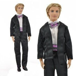 Yiding Fashion Tuxedo 黒 Jumpsuit Coat Formal Suit for Ken Barbie(バービー) Boyfriend Dolls Clo