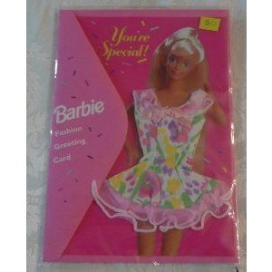 You're Special Barbie(バービー) Doll Fashion Greeting Card with Real Clothes - Pastel Print with P