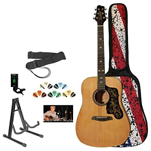 Sawtooth Acoustic Dreadnought Guitar with Black ピックガード and Custom Graphic - Includes: Access