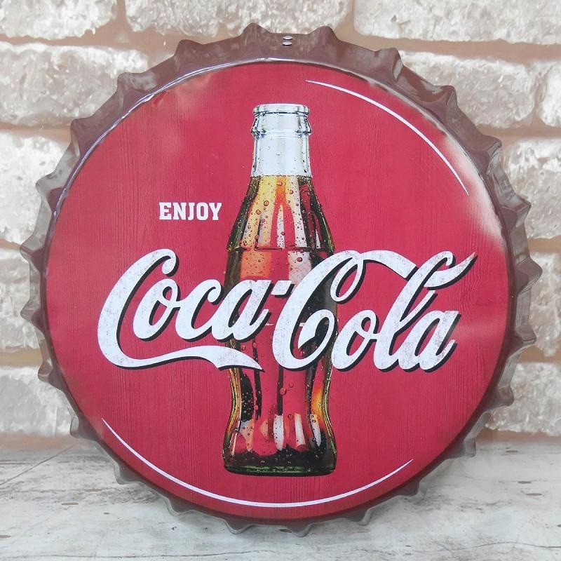 王冠 ブリキ看板 蓋 コカ・コーラ Coca Cola ウォールサイン アメリカン雑貨 ヴィンテージ アメリカンレトロ 雑貨 35cm【BZ-138】