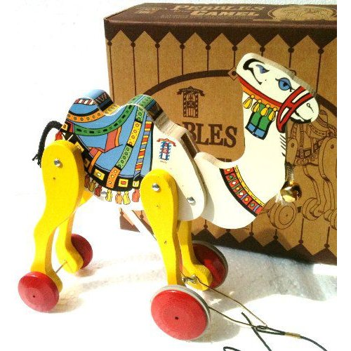 Fisher-Price(フィッシャープライス) Wooden Pull トイ PEBBLES the らくだ from トイ Town U.S.A. 1999 限
