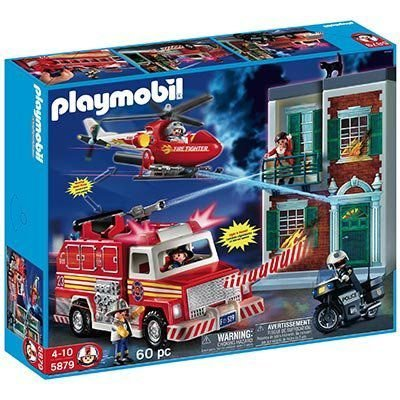 Playmobil(プレイモービル) 60 Pc Fire Rescue Set with Light and Sound 5879