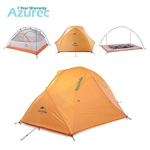 Azurec 2 Person 4 Season Lightweight Waterproof Double Doors Double Layer Backpacking Tent for Camp