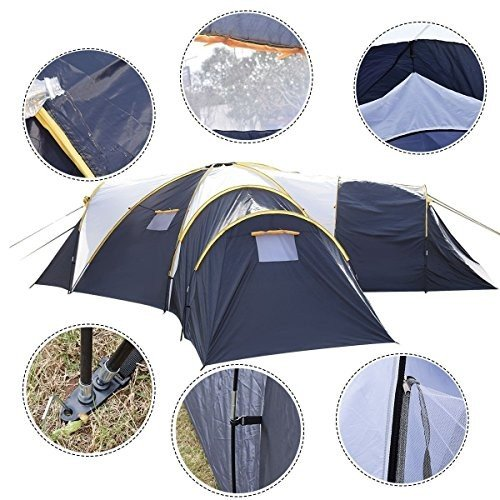 SDS Waterproof 6-9 Person 3+1 Room Camping Tent Outdoor Hiking Two Layer Backpack